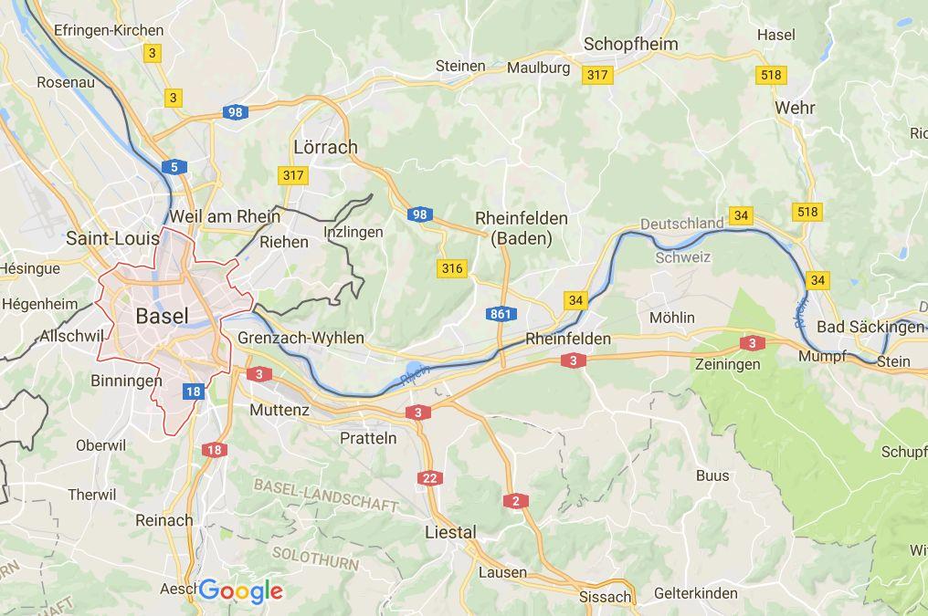 Kartenausschnitt vom Dreiländereck (Deutschland, Schweiz, Frankreich) mit Basel, Lörrach und Rheinfelden, Quelle Google Maps