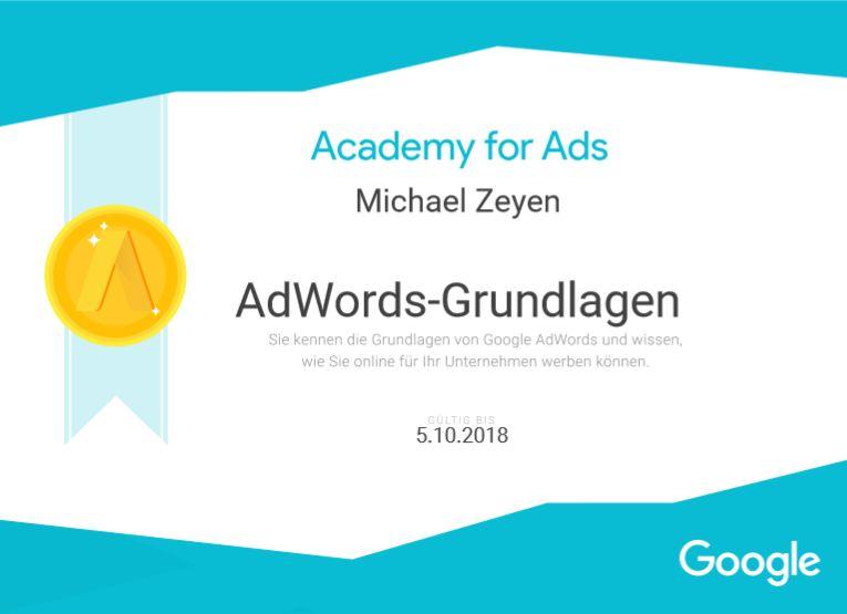 Bild mit AdWords-Grundlagen Zertifikat