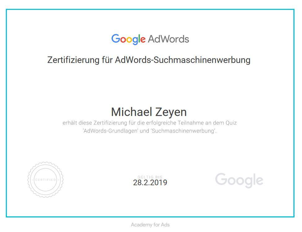 Bild mit Zertifikat - Google AdWords Suchmaschinenwerbung auf michaelzeyen.com