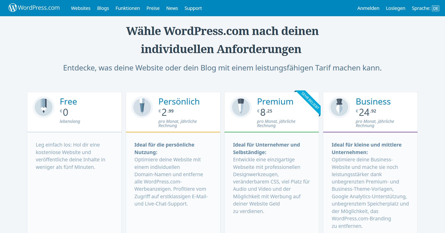 Screenshot der Tarife zu WordPress.com von michaelzeyen.com