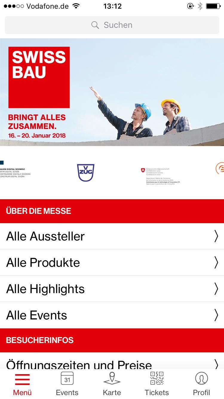 Screenshot von der Swissbau App